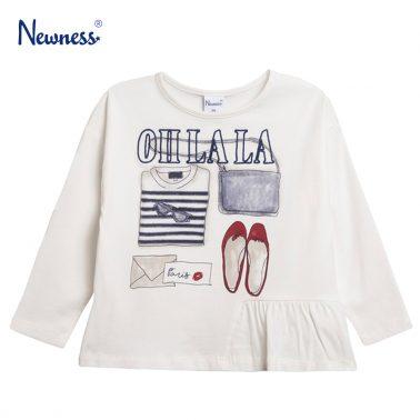 Блуза с набрана платка и щампа аксесоари от Newness бяла