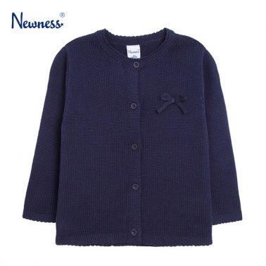 Топла жилетка Newness в тъмно синьо с панделка