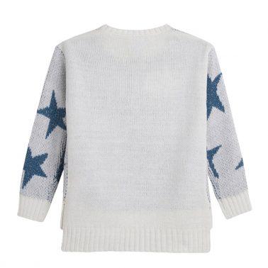 Мек пуловер на звезди с ламе от Newness в синьо