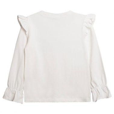 Блуза с водно конче от Newness с къдри и ластик бяла