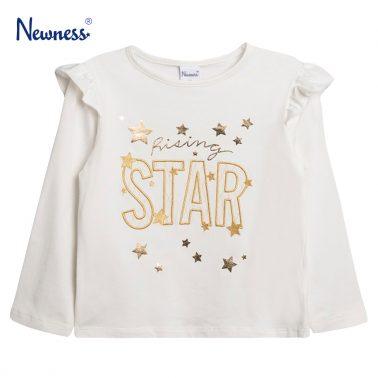 """Блуза с къдрички и златен надпис """"Star"""" от Newness в екрю"""