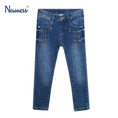 Модерни дънки Newness в цвят деним с капси