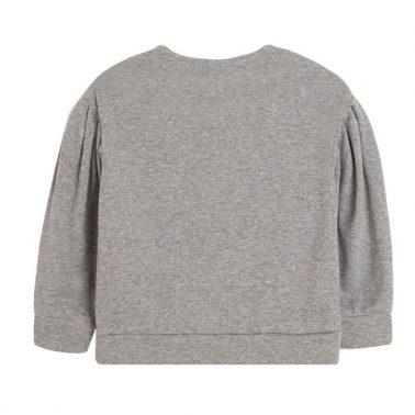Екстравагантна блуза Newness с надпис от брокат и тюл в сиво