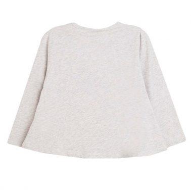 Блуза трапец с бродиран надпис и помпони от Newness сива