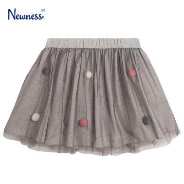 Пола с тюл и цветни помпони от Newness в сиво