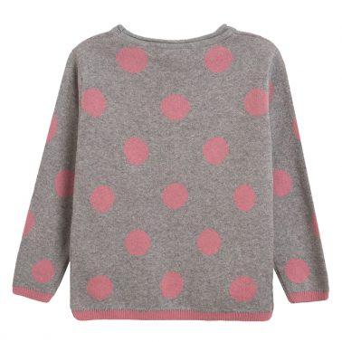 Мек пуловер на точки с панделка от Newness сив