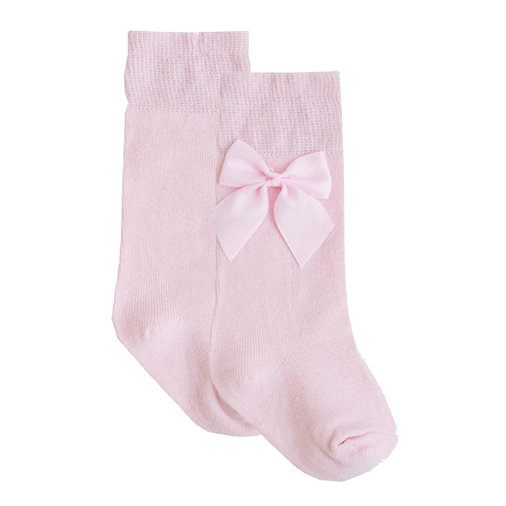Чорапи с кокетна панделка от Newness в розово