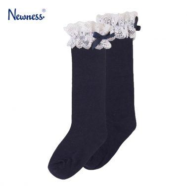 Елегантни чорапи с дантела и панделка от Newness в синьо