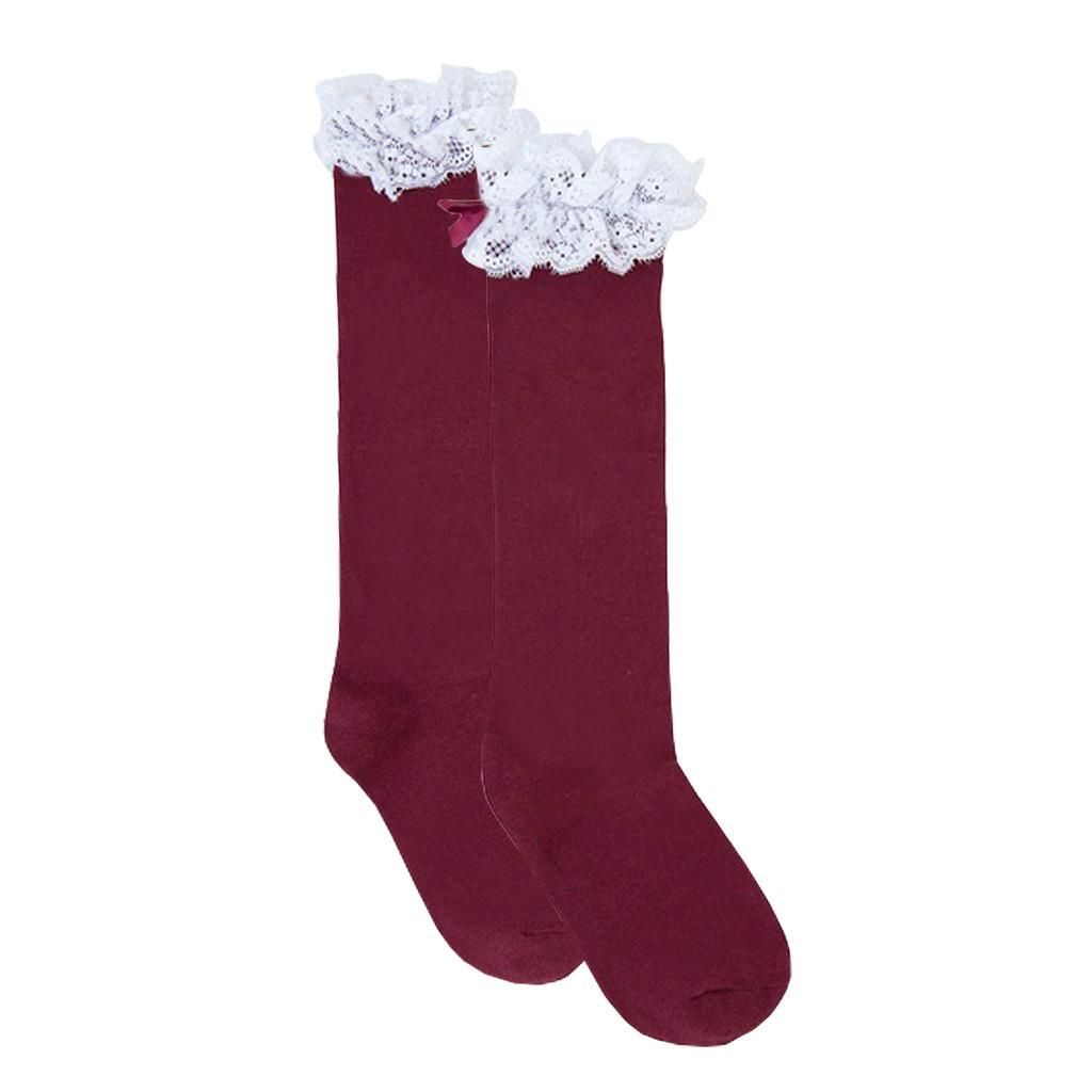 Елегантни чорапи с дантела и панделка от Newness в бордо