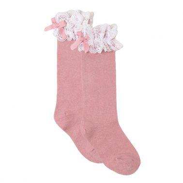 Елегантни чорапи с дантела и панделка от Newness в розово