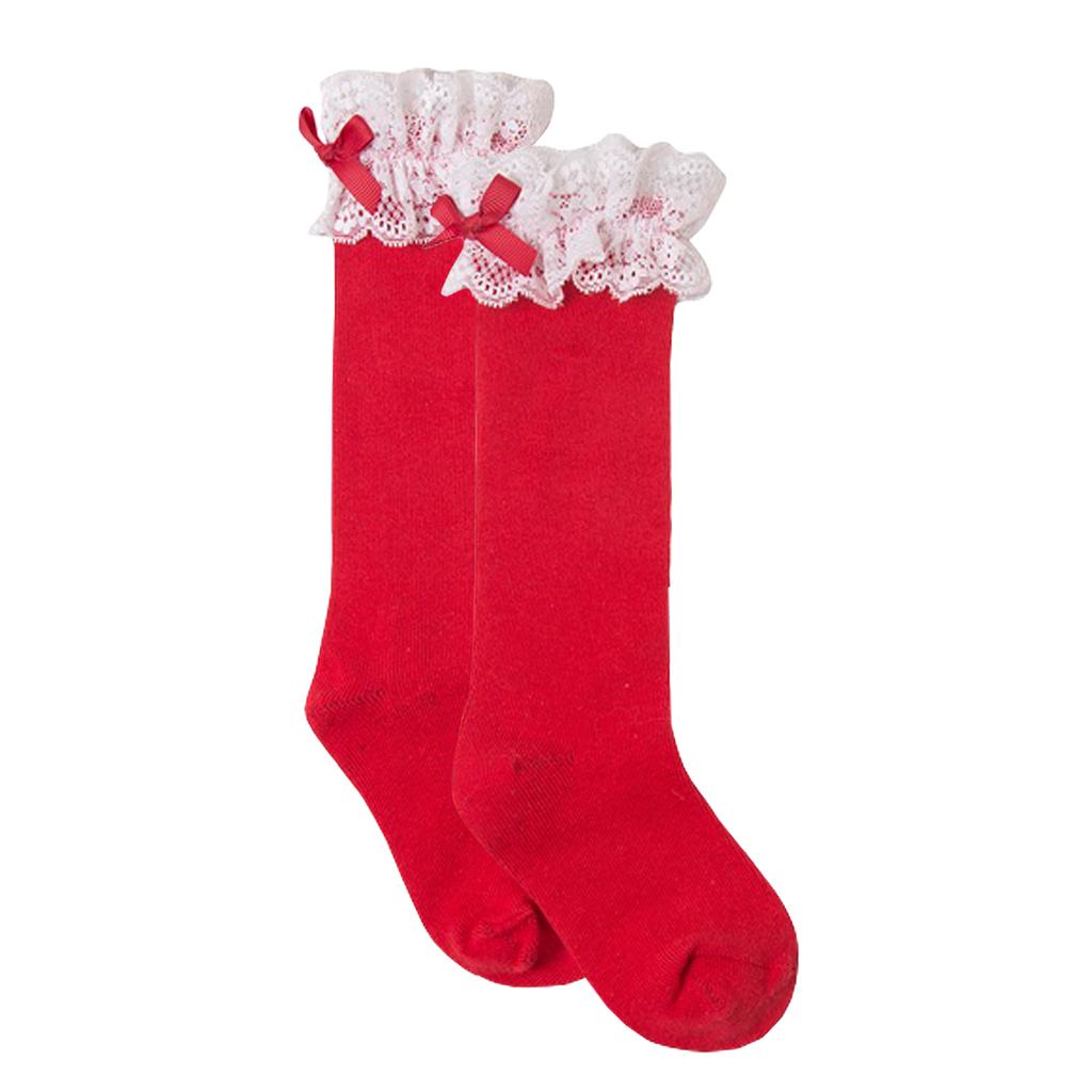 Елегантни чорапи с дантела и панделка от Newness в червено