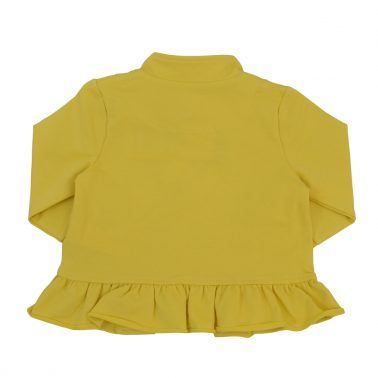 Елегантен суитшърт с къдрички и столче-яка в тъмно жълто
