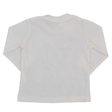 Блузка от рипсено трико в екрю с щампа животни в хралупи