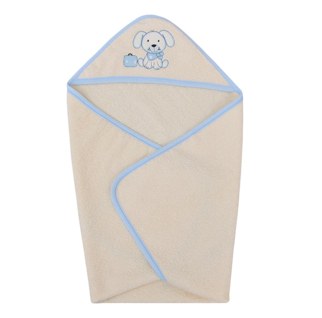 Мека кърпа-хавлия с триъгълна качулка и бродерия куче в светло синьо
