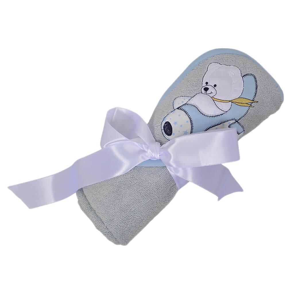 Мека кърпа-хавлия с триъгълна качулка и бродерия мече в светло сиво