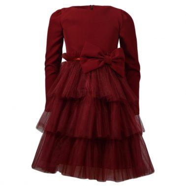 """Празнична рокля """"Точици"""" с три волана тюл и панделка в бордо"""