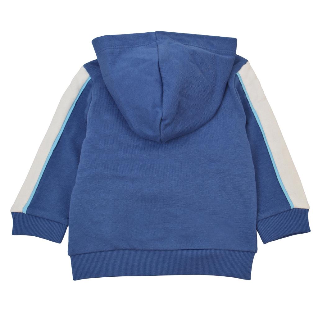 Ватиран суитшърт в синьо с цветна лента на ръкавите