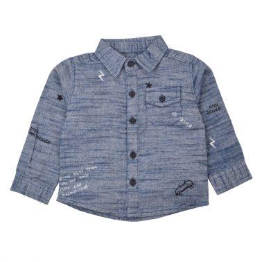 Спортно-елегантна риза с щампи и джобче в син цвят