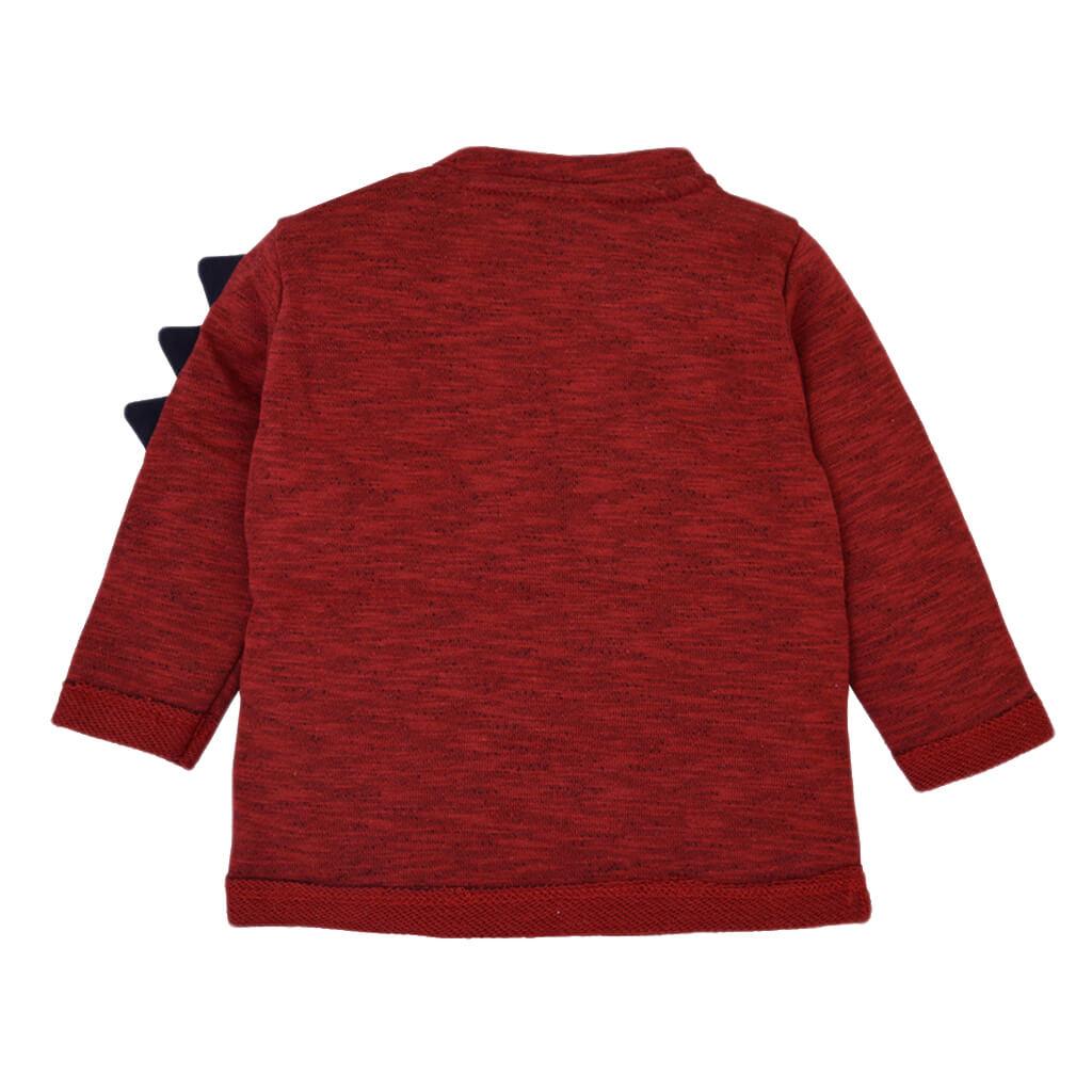 Блуза с дракон и обърнати краища в цвят бордо