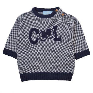 """Мек пуловер в синьо с щампа """"Cool"""" и очички"""