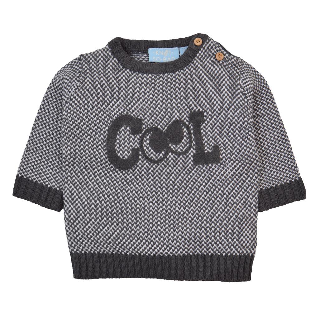 """Мек пуловер в сиво с щампа """"Cool"""" и очички"""