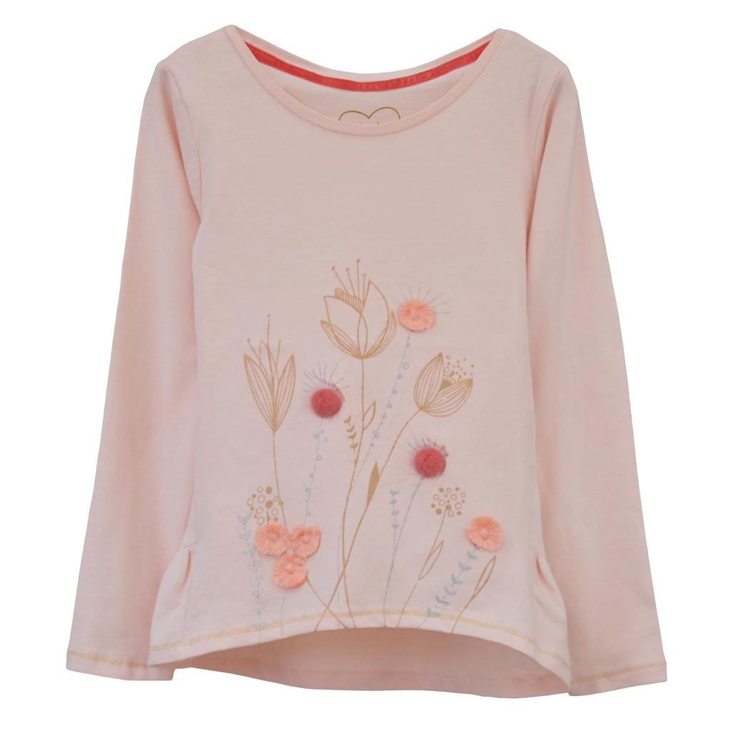 Туника с волан и цветя от брокат и помпони в цвят праскова