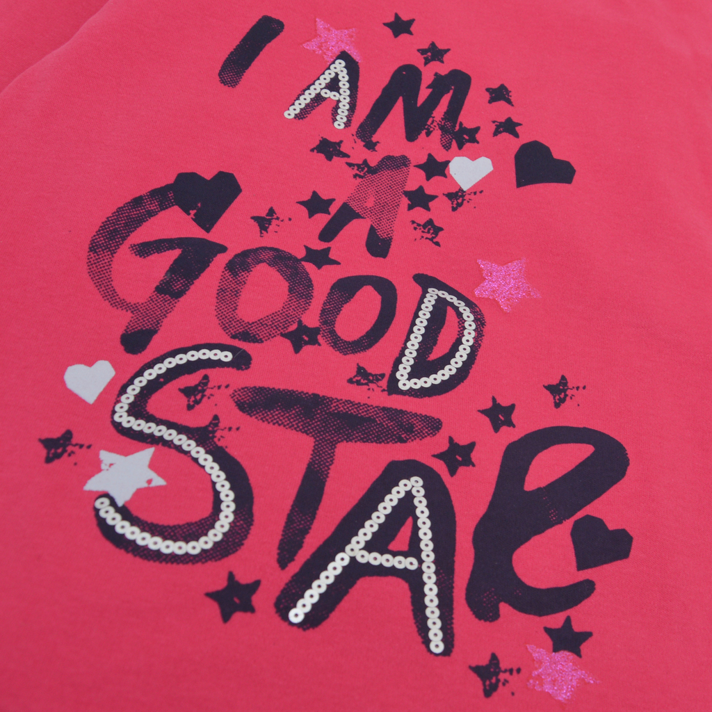 """Блуза в циклама с надпис """"Star"""" с пайети и брокат"""