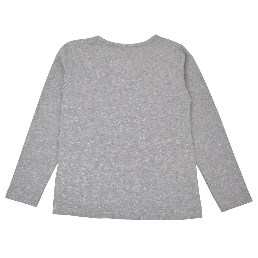 Блуза в сив меланж с брокатена шарка и цветен надпис
