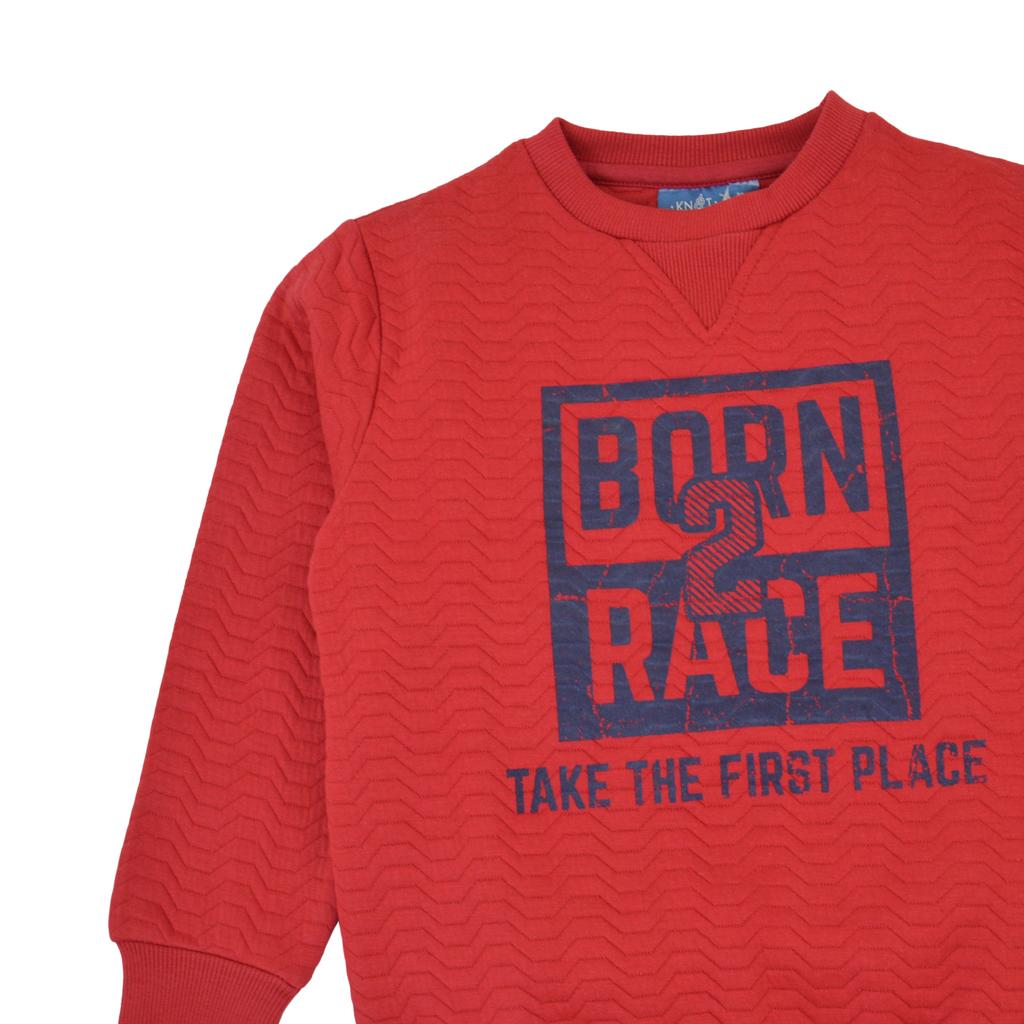 """Спортна блуза в червено с релеф и щампа """"Born 2 rice"""""""