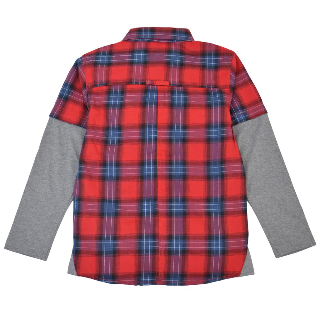 Модерна спортна риза в червено каре с двоен ръкав и джоб