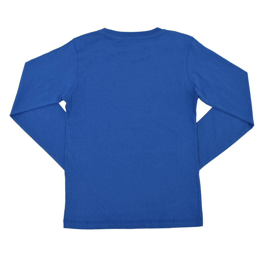 Блуза дълъг ръкав със скиорски щампи в син цвят