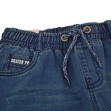 Спортни дънки с ластик и връзка в цвят деним