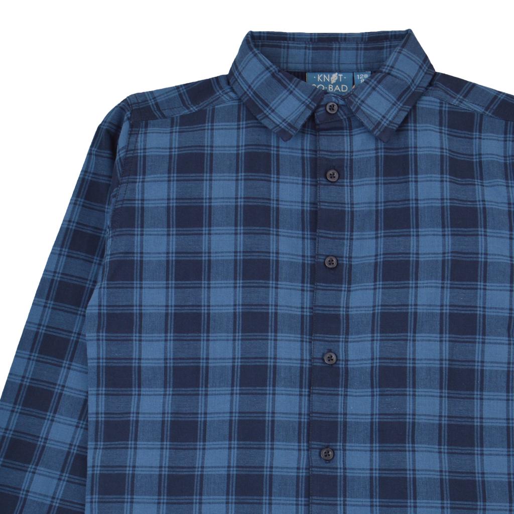 Стилна риза дълъг ръкав на едри карета в синьо
