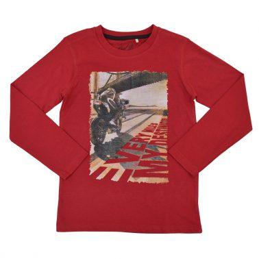 Блуза в червено с дълъг ръкав и щампа на моторист