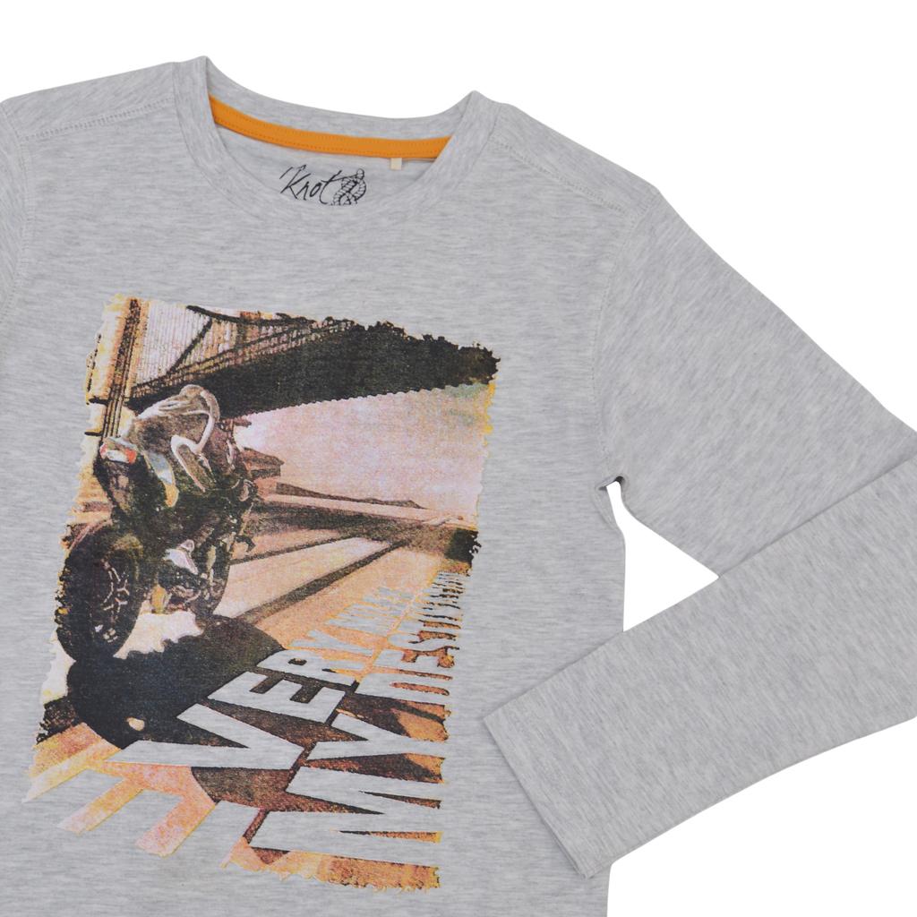 Блуза в светъл меланж с дълъг ръкав и щампа на моторист