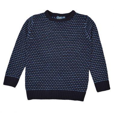 Мек пуловер от акрил в синьо с цветни бодове