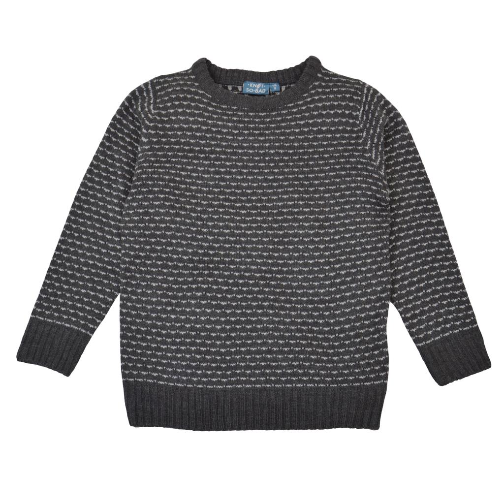 Мек пуловер от акрил в сиво с цветни бодове