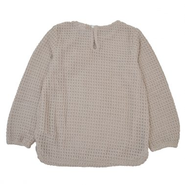 Елегантен пуловер с релеф и панделка от Newness в бежово