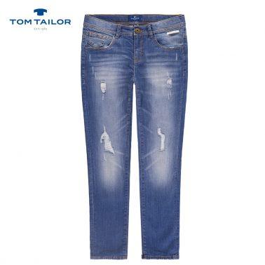 Дънки с модерно прокъсване от Tom Tailor в цвят деним