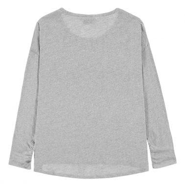 Модерна блуза с перли и надпис ''Lucky'' в сиво от Tom Tailor