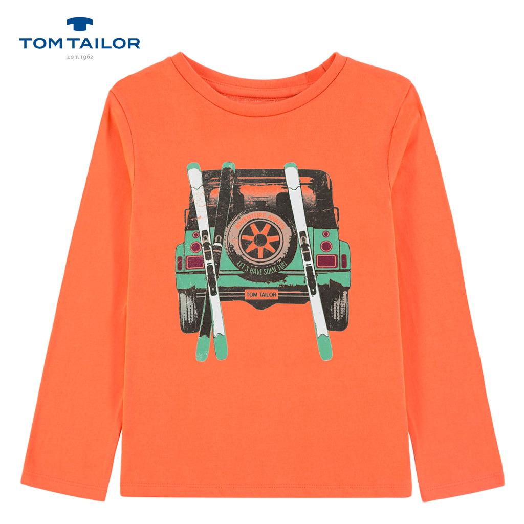 Блуза с джип и ски в оранжево от Tom Tailor