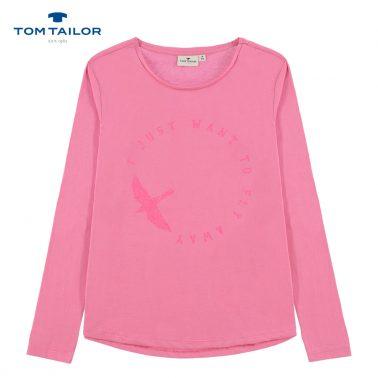 Блуза с брокатен надпис и птица от Tom Tailor в розово