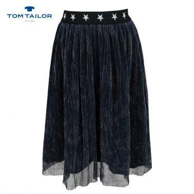 Бляскава пола с мек тюл в черно от Tom Tailor