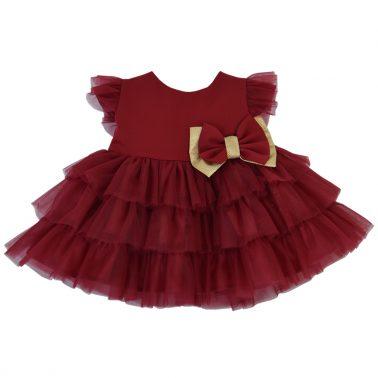 Празнична рокля ''Точици'' в бордо с шикозна панделка и тюл