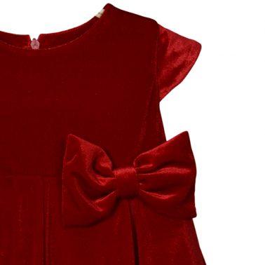 Стилна плюшена рокля ''Точици'' в червено с обемна панделка и тюл