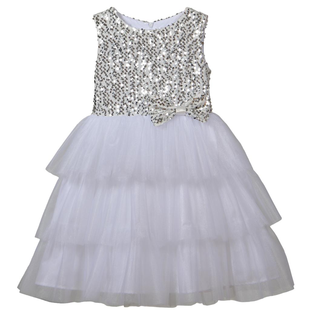 """Бляскава рокля """"Точици"""" в бяло с пайети и панделка"""