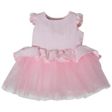 """Кокетна рокличка """"Точици"""" в розово с асиметричен волан и тюл"""