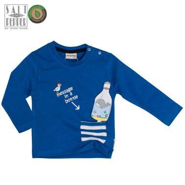 Блуза с раиран джоб и играчка бутилка от Salt & Pepper в синьо