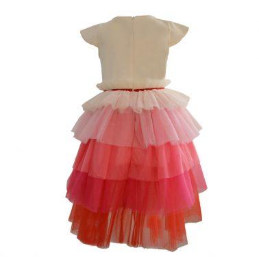 """Рокля """"Точици"""" с тюл в преливащи розови цветове"""