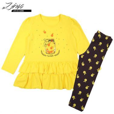 Туника в жълто с волани и прозрачен джоб и клин на плодчета